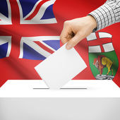 Ballot box with Canadian province flag on background - Manitoba — Stock Photo