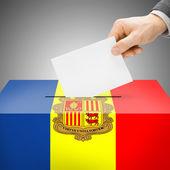 Ballot box painted into national flag - Andorra — 图库照片