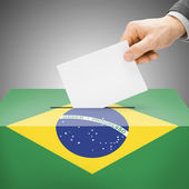 Ballot box painted into national flag - Brazil — Stock Photo