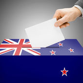 Ballot box painted into national flag - New Zealand — Stock Photo