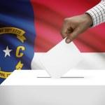 Ballot box with US state flag on background series - North Carolina — Stock Photo #71726169