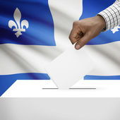 Ballot box with Canadian province flag on background series - Quebec — Stock Photo