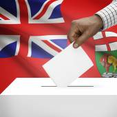 Ballot box with Canadian province flag on background series - Manitoba — Stock Photo