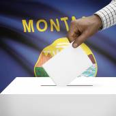 Ballot box with US state flag on background series - Montana — Stock Photo