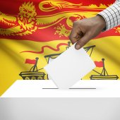 Ballot box with Canadian province flag on background series - New Brunswick — Stock Photo