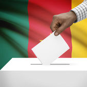 Ballot box with national flag on background series - Cameroon — Stock Photo