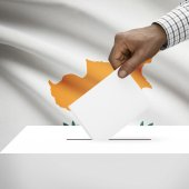 Ballot box with national flag on background series - Cyprus — Stock Photo