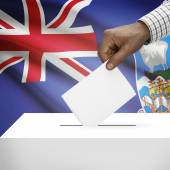 Ballot box with national flag on background series - Falkland Islands — Stock Photo