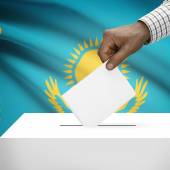 Ballot box with national flag on background series - Kazakhstan — Stock Photo