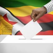 Ballot box with national flag on background series - Zimbabwe — Stock Photo
