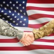 Men in uniform shaking hands with flag on background - United States — Stock Photo #71988791