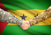Men in uniform shaking hands with flag on background - Sao Tome and Principe — Stock Photo