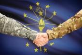 Military handshake and US state flag - Indiana — Stock Photo