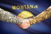 Military handshake and US state flag - Montana — Stock Photo