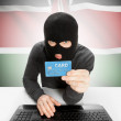 Cybercrime concept with national flag on background - Kenya — Stock Photo #76362865