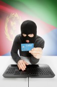 Cybercrime concept with national flag on background - Eritrea — Stock Photo