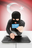 Cybercrime concept with national flag on background - Turkey — Stockfoto