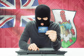 Concept of cybercrime with national flag on background - Bermuda — Stock Photo