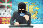 Concept of cybercrime with national flag on background - Saint-Pierre and Miquelon — Stock Photo