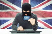 Concept of cybercrime with national flag on background - United Kingdom — Stock Photo