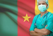 Surgeon with flag on background series - Cameroon — Zdjęcie stockowe