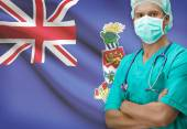 Surgeon with flag on background series - Cayman Islands — Stock Photo