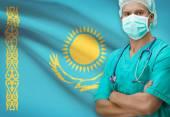Surgeon with flag on background series - Kazakhstan — Stock Photo