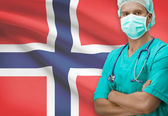 Surgeon with flag on background series - Norway — Stock Photo