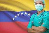 Surgeon with flag on background series - Venezuela — Stock Photo