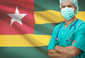 Surgeon with flag on background series - Togo — Stock Photo