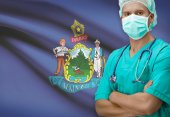 Surgeon with US states flags on background series - Maine — Stock Photo