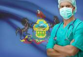 Surgeon with US states flags on background series - Pennsylvania — Zdjęcie stockowe