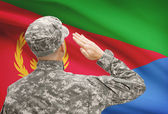 Soldier in hat facing national flag series - Eritrea — Stock Photo