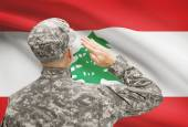 Soldier in hat facing national flag series - Lebanon — Stock Photo
