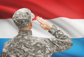 Soldier in hat facing national flag series - Luxembourg — Stock Photo