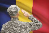 Soldier in hat facing national flag series - Romania — Stock Photo