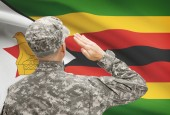 Soldier in hat facing national flag series - Zimbabwe — Stock Photo