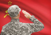 Soldier in hat facing national flag series - USSR - Soviet Union — Stock Photo