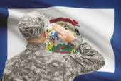 Soldier saluting to US state flag series - West Virginia — Stock Photo