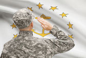 Soldier saluting to US state flag series - Rhode Island — Stock Photo