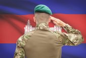 National military forces with flag on background conceptual series - Cambodia — Stock Photo