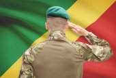 National military forces with flag on background conceptual series - Congo-Brazzaville — Stock Photo