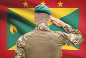 National military forces with flag on background conceptual series - Grenada — Stock Photo