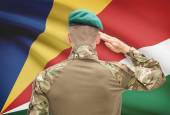 National military forces with flag on background conceptual series - Seychelles — Stock Photo