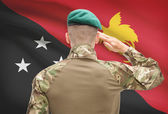 National military forces with flag on background conceptual series - Papua New Guinea — Stock Photo