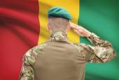 National military forces with flag on background conceptual series - Guinea — Stock Photo
