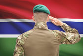 National military forces with flag on background conceptual series - Gambia — Stock Photo