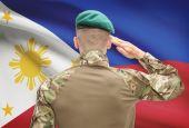 Forces militaires nationales avec drapeau sur série conceptuelle de fond - Philippines — Photo