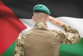 National military forces with flag on background conceptual series - Palestine — Stock Photo
