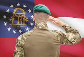 Soldier saluting to USA state flag conceptual series - Georgia — Stock Photo
